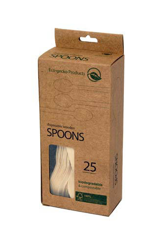wooden spoons in 25-pack box
